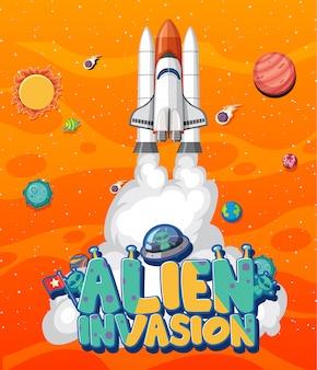 Cartaz com nave espacial e muitos planetas