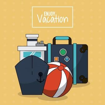 Cartaz com navio de cruzeiro e bagagem e bola de praia