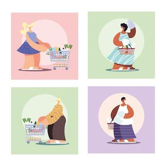 Cartaz com pessoas em compras de supermercado, distanciamento social por coronavírus
