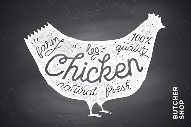 Cartaz com silhueta de frango vermelho. letras