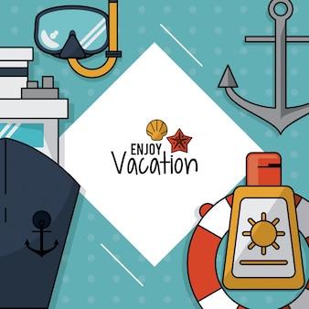 Cartaz com snorkel e navio de cruzeiro e âncora e protetor solar