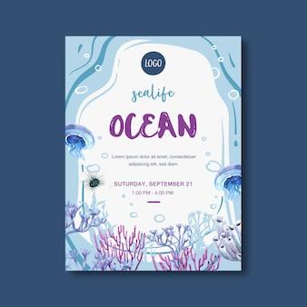 Cartaz com tema de vida marinha, água-viva criativa e ilustração em aquarela de coral.
