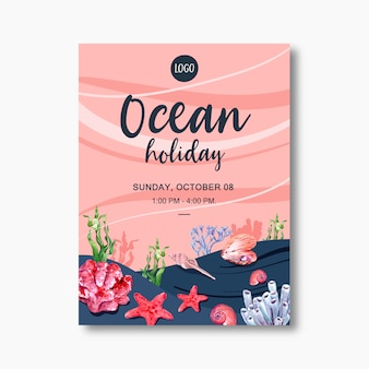 Cartaz com tema de vida marinha, estrela do mar criativa com modelo de ilustração de coral