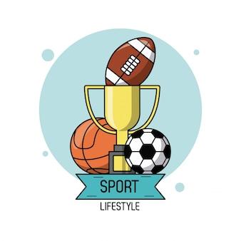 Cartaz com troféu e basquete de futebol e bola de futebol