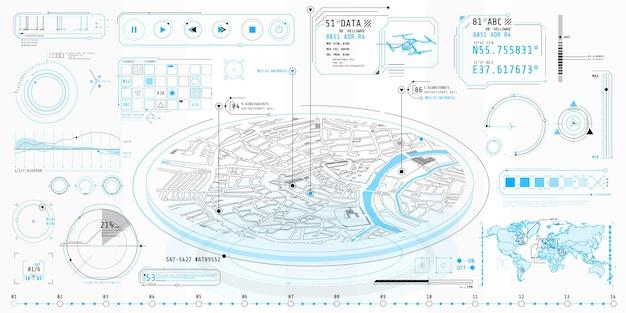 Cartaz com um conjunto de elementos futurísticos do hud sobre o tema geo-posição.