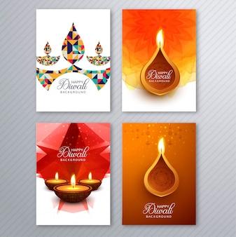Cartaz com um diya para modelo de folheto colorido diwali