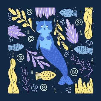 Cartaz com um gato sereia bonito em um fundo com plantas. desenho à mão. ilustração em estilo cartoon.