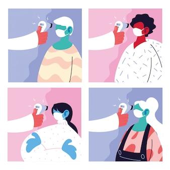 Cartaz com um médico que mede a temperatura das pessoas