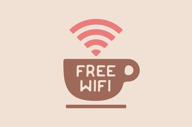 Cartaz com uma xícara de café e texto wi-fi grátis