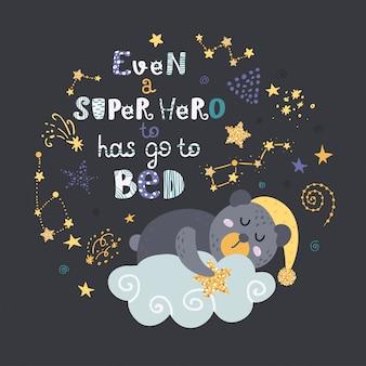 Cartaz com ursinho de pelúcia, estrelas e letras.