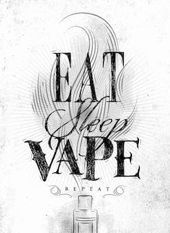 Cartaz com vaporizador e nuvem de fumaça