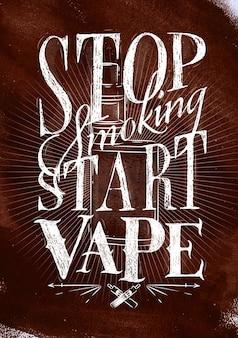 Cartaz com vaporizador em letras de estilo vintage