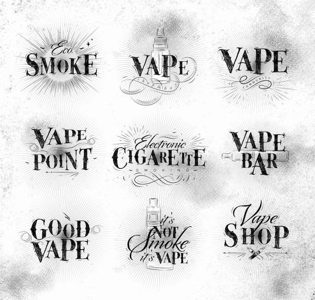 Cartaz com vaporizador em letras vintage