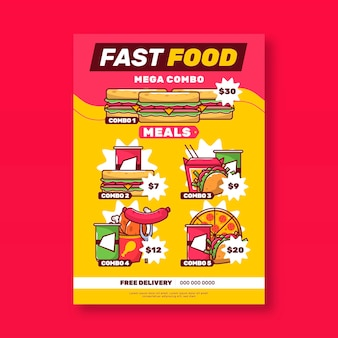 Cartaz combinado de refeições rápidas