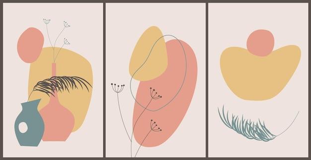 Cartaz contemporâneo abstrato com formas orgânicas abstratas, folhas de palmeira. arte do estilo boho.
