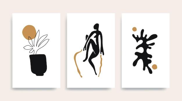 Cartaz contemporâneo de vetor abstrato de henri matisse. mulher figura silhueta linha arte matisse pintura. reprodução de pintura em pastel. colagem de forma geométrica.
