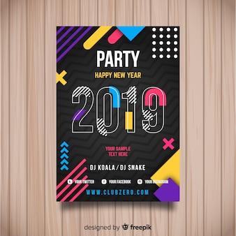 Cartaz criativo do partido do ano 2019 novo