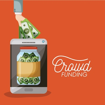 Cartaz crowdfunding do tablet