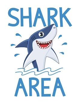 Cartaz da área de tubarão. aviso de ataque de tubarões, mergulho e ondas do mar, slogan para design de impressão de água de camiseta ou ilustração em vetor banner cartoon
