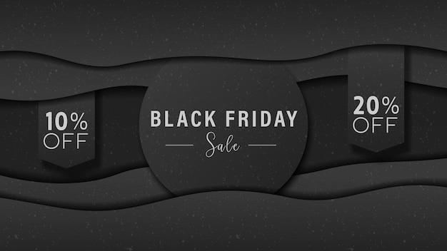 Cartaz da black friday para publicidade de venda fundo 3d dinâmico de papel preto