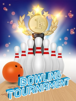 Cartaz da bola de boliche, skittles, prêmio troféu e boliche.