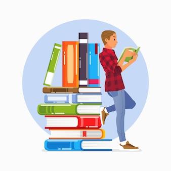 Cartaz da campanha do dia mundial da alfabetização com jovem lendo livro e apoiando-se na ilustração de uma pilha de livros