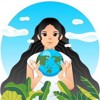 Cartaz da campanha do dia mundial humanitário com mulheres carregando ilustração de plantas e globo