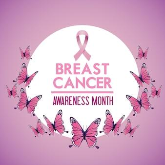 Cartaz da campanha do mês de conscientização do câncer de mama com borboletas e moldura circular de fita