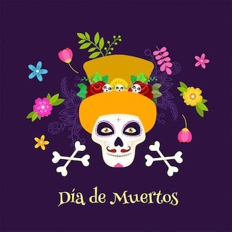 Cartaz da celebração de dia de muertos com crânio de açúcar ou calaveras, ossos cruzados e flores decoradas em roxo.
