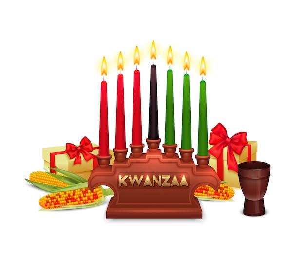 Cartaz da composição dos símbolos da celebração do feriado de kwanzaa