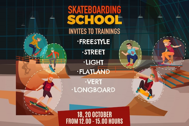 Cartaz da escola de skate