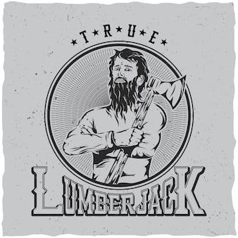 Cartaz da etiqueta true lumberjack
