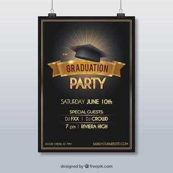Cartaz da festa com boné de graduação