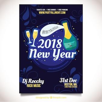 Cartaz da festa com champanhe e copos de champanhe