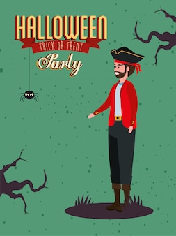 Cartaz da festa com homem vampiro disfarçado