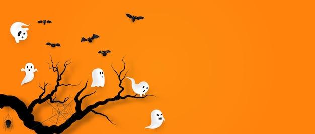 Cartaz da festa da arte de papel de halloween. conjunto de abóboras da coleção projeto de conceito de fundo de carnaval assustador e engraçado