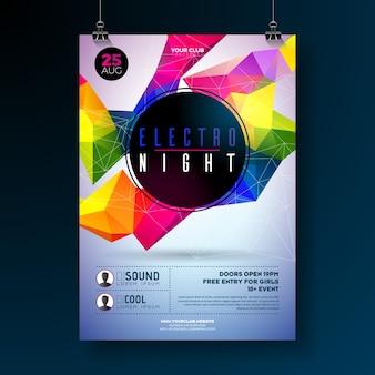 Cartaz da festa da dança noturna com formas geométricas abstratas e modernas