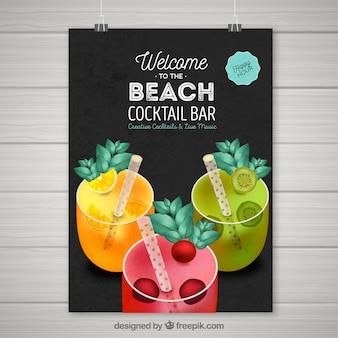 Cartaz da festa da praia com bebidas