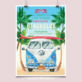 Cartaz da festa da praia com camioneta aquarela
