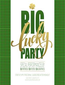 Cartaz da festa da sorte. dia de são patricio. ilustração