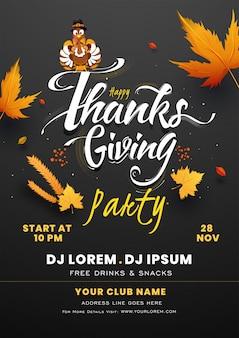 Cartaz da festa de ação de graças feliz com pássaro peru, folhas de outono e detalhes do evento