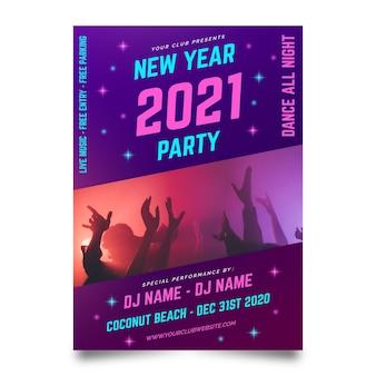 Cartaz da festa de ano novo de 2021 com foto
