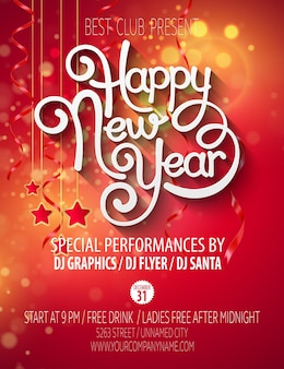 Cartaz da festa de ano novo. ilustração vetorial eps 10