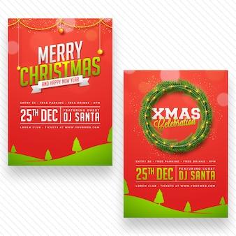 Cartaz da festa de celebração do feliz natal, design de banner ou flyer em duas opções de variantes.