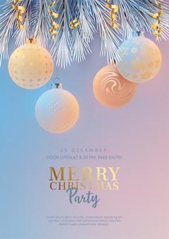Cartaz da festa de feliz natal com galhos de árvores de natal e bolas de natal