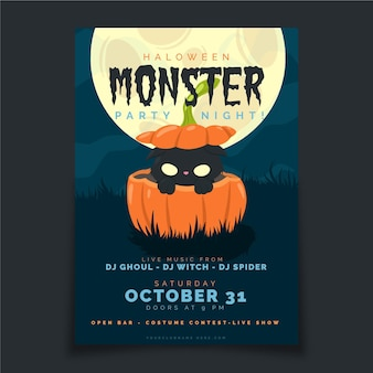 Cartaz da festa de halloween com abóbora