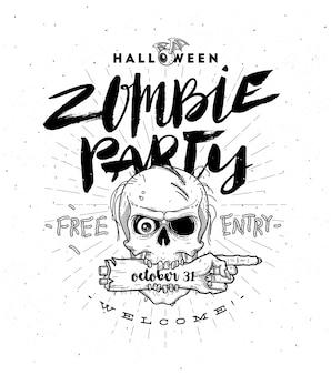 Cartaz da festa de halloween com cabeça de zumbi e mão - linha arte ilustração com mão desenhada escova caligrafia.