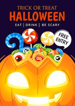 Cartaz da festa de halloween com desenho desenhado à mão