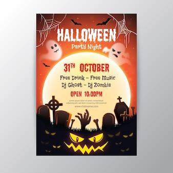 Cartaz da festa de halloween com design realista