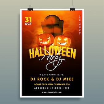 Cartaz da festa de halloween com jack-o-lanternas, cemitério e detalhes do evento em marrom e preto.